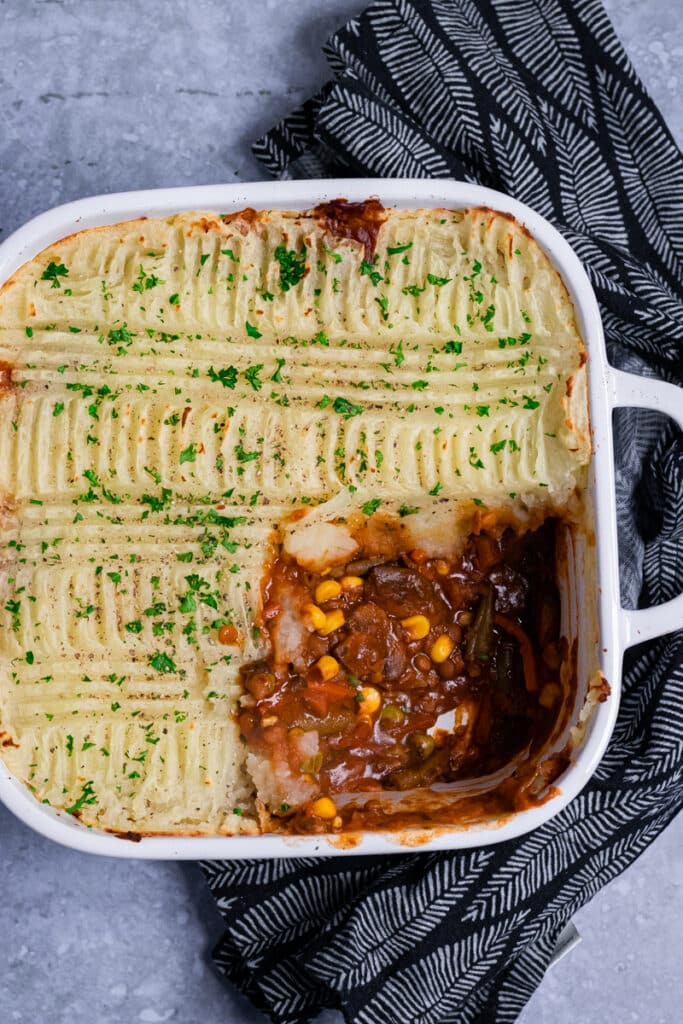 Vegan Shepherd's Pie in a baking dish