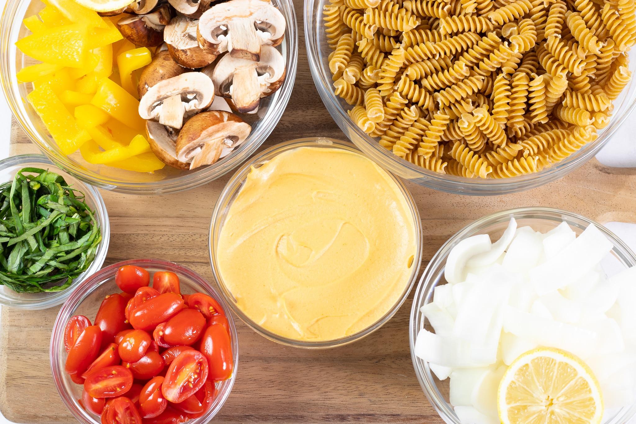 Hummus Pasta Salad Ingredients