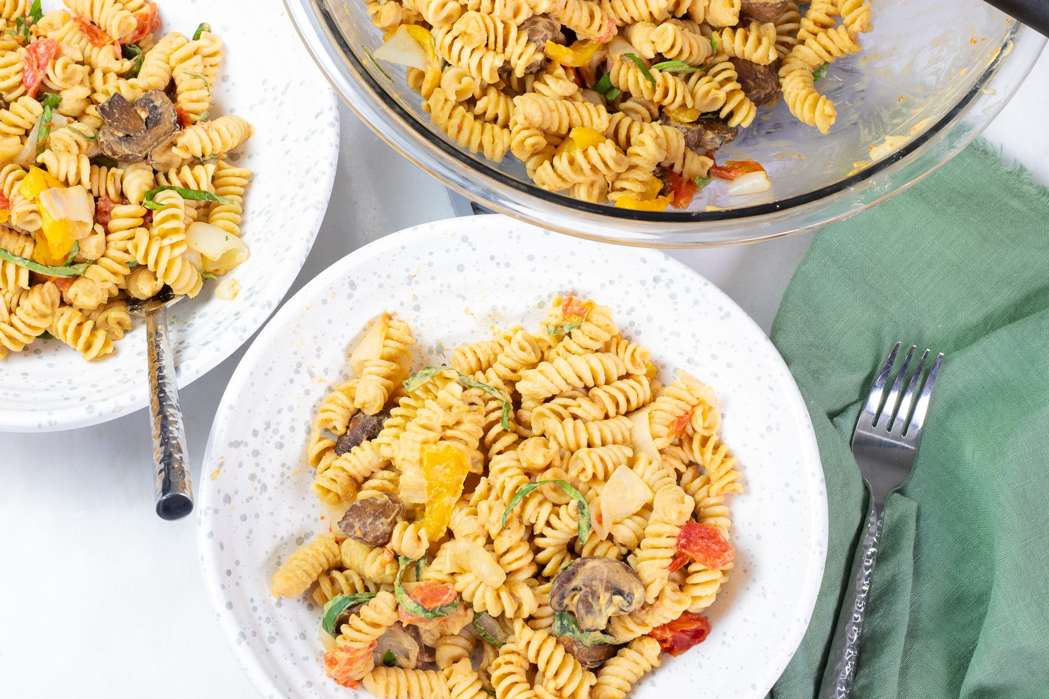 Pasta Salad with Hummus and Roasted Vegetables