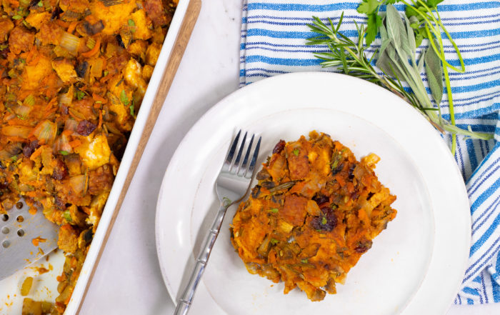 Plant-based holiday stuffing on a plate