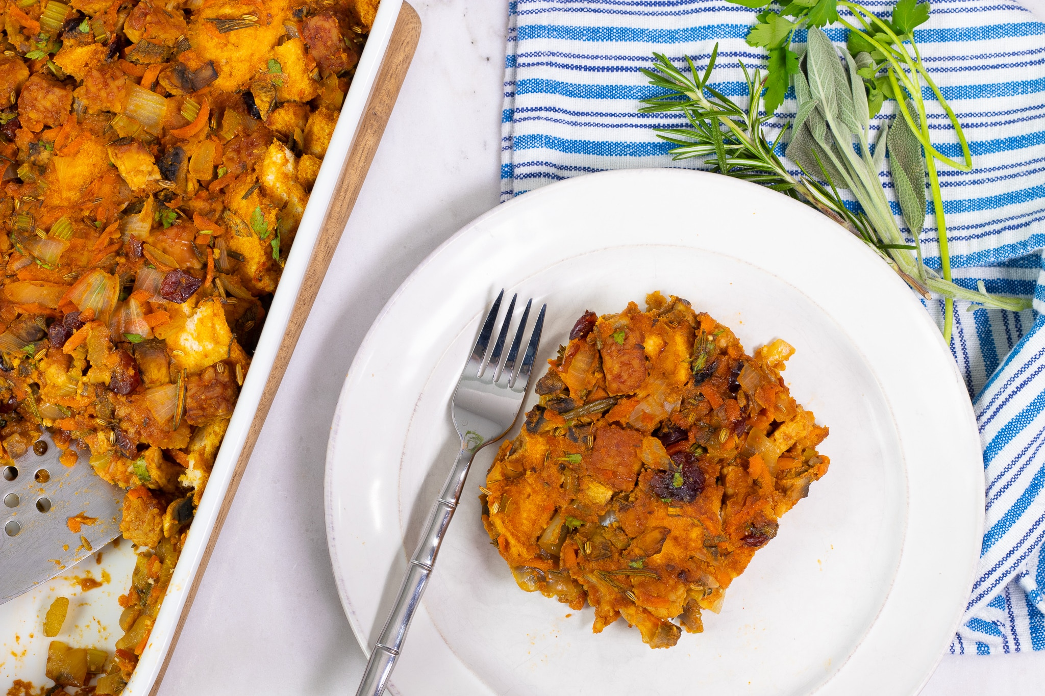 Gluten-Free Holiday Stuffing with Tempeh Sausage and Veggies