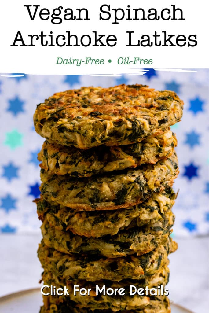 Pinterest Image for the spinach artichoke latkes