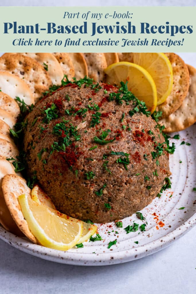Vegan Pate on a plate with text promoting recipe ebook