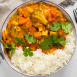 Tofu Vegetable Curry in a bowl with rice