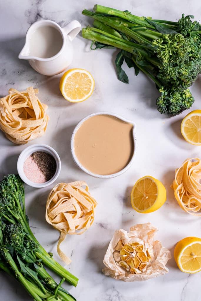 Ingredients for tahini broccolini pasta