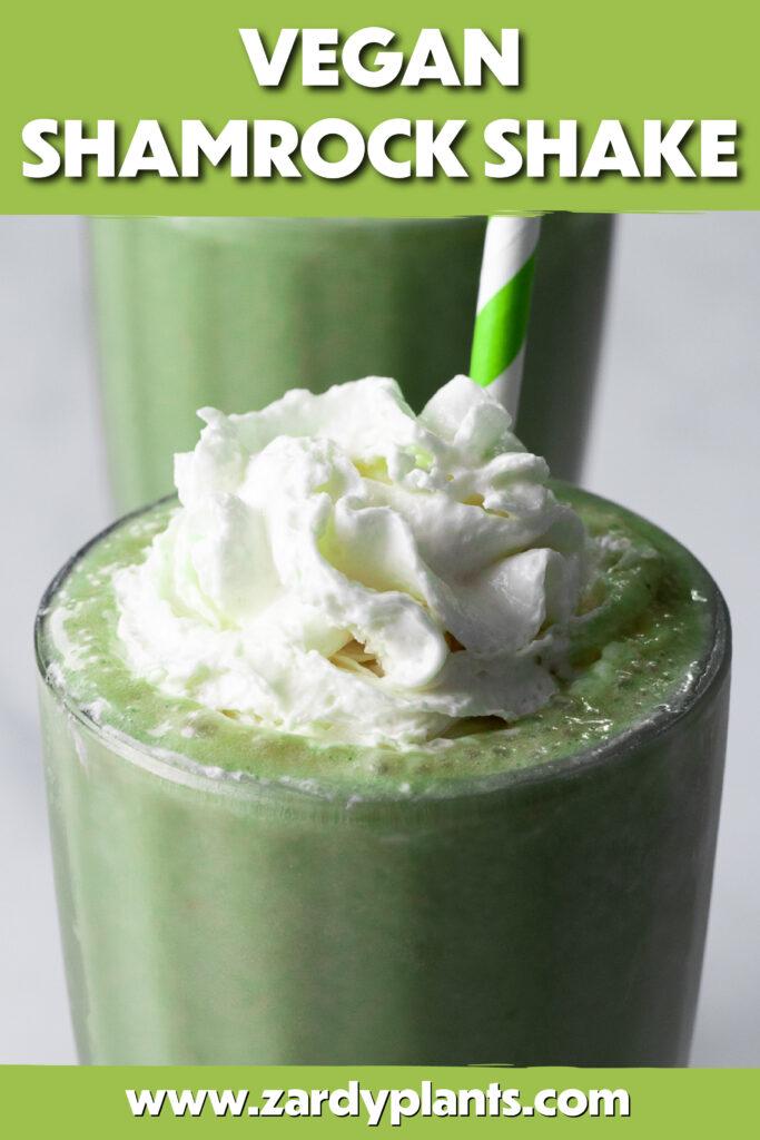 Pinterest image for the vegan shamrock shake