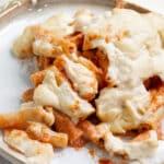 Closeup of vegan baked ziti
