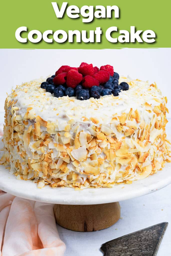 Pinterest image for the coconut cake