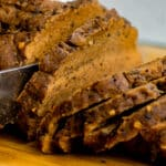 Instant Pot Seitan being sliced by a knife