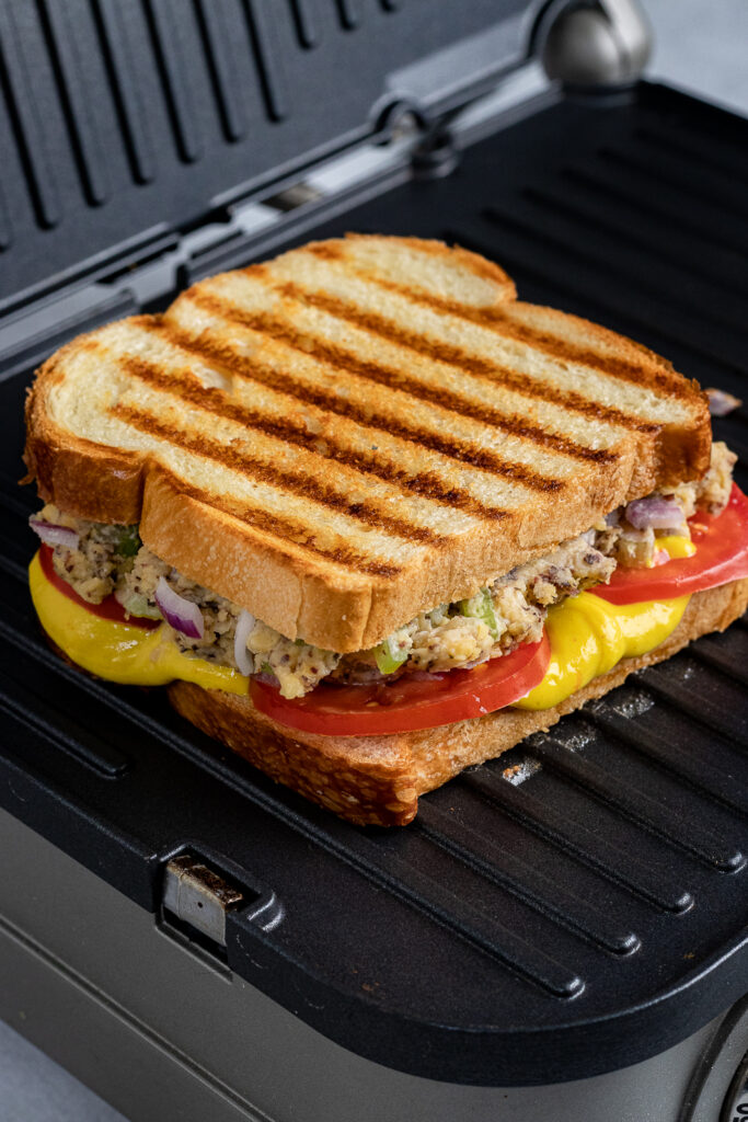 Grilling the sandwich