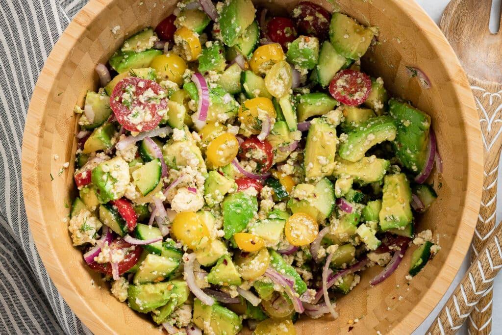 Vegan Avocado Salad in a salad bowl