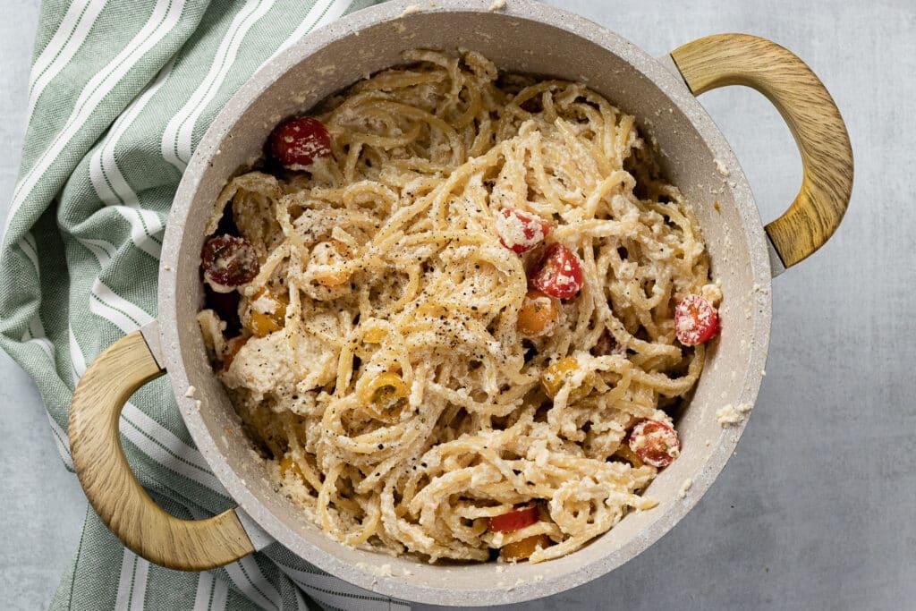 Pot of ricotta pasta