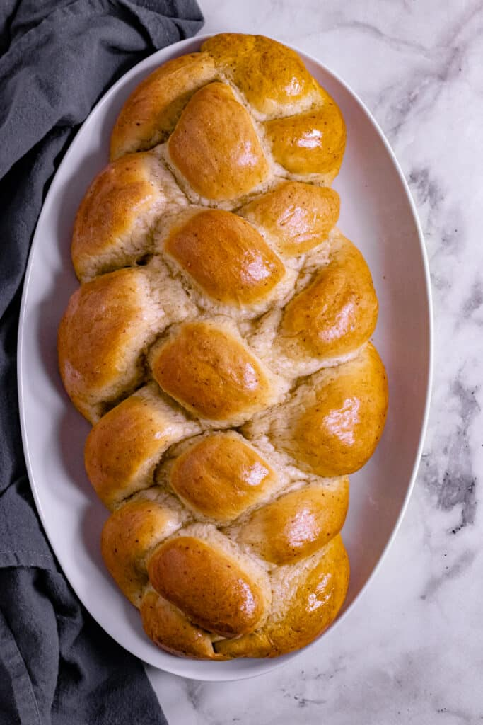 Vegan Challah on a serving plater