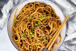 Vegan Garlic Noodles in a bowl