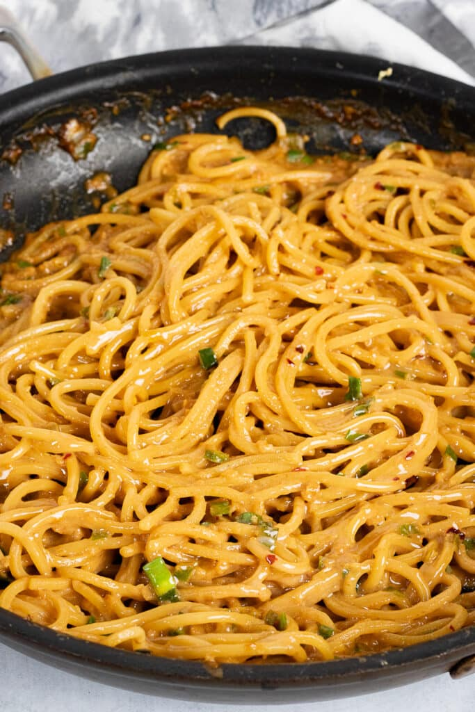 Garlic Noodles in a pan