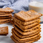 Multiple stacks of graham crackers