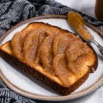 Vegan instant pot apple butter on a slice of toast