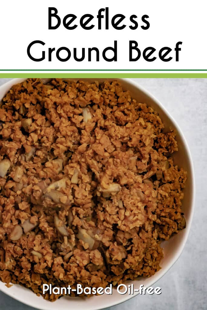 Pinterest image for the Beefless Ground Beef