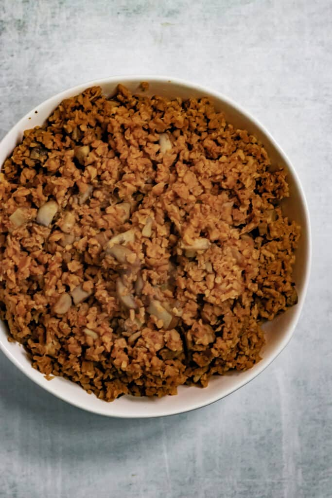 Meatless Crumbles in a bowl