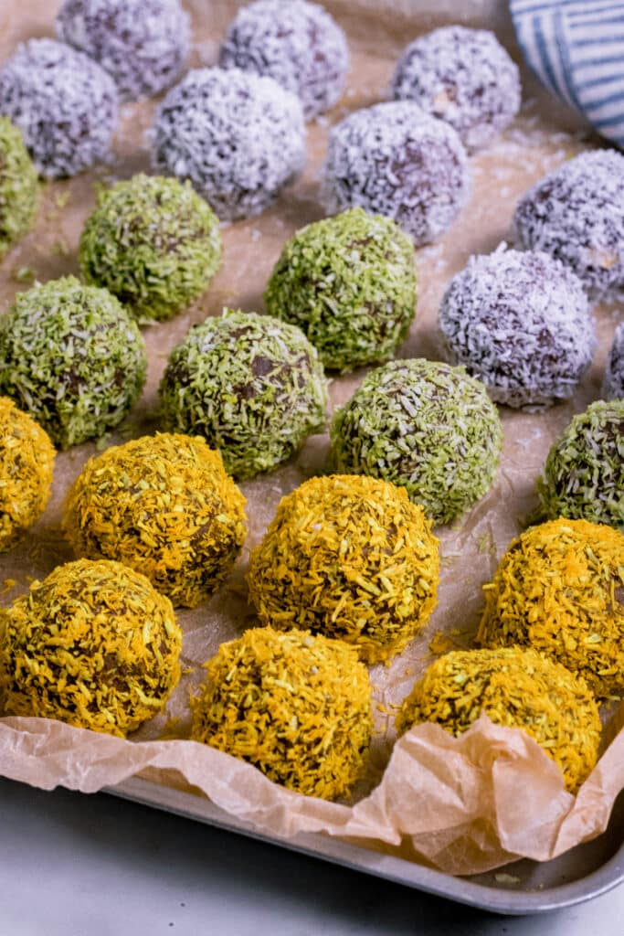 Vegan Chocolate Bliss Balls on a tray