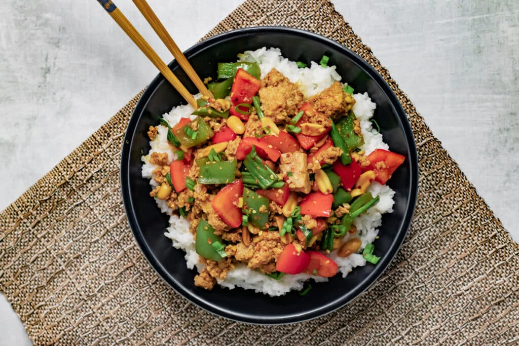 Vegan Kung Pao in a bowl