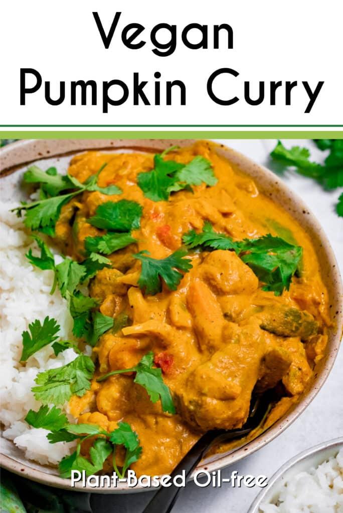 Pinterest image for the vegan pumpkin curry