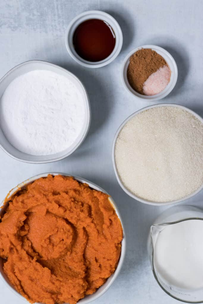 Pumpkin puree and other ingredients on a table