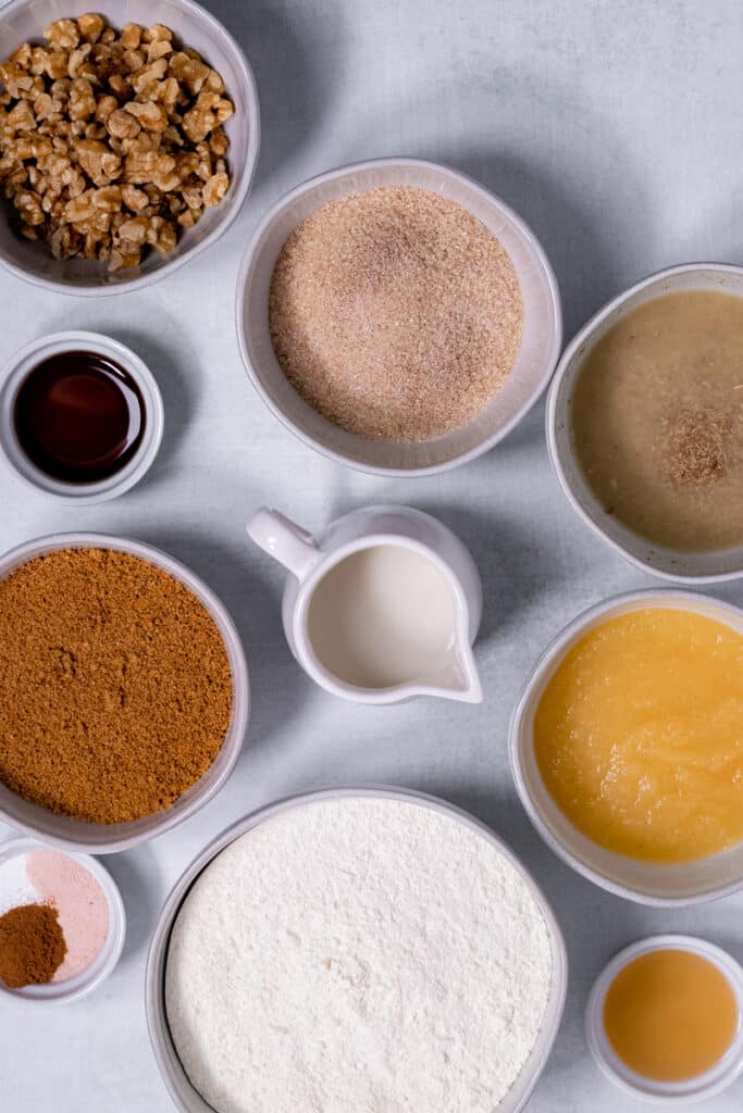 Ingredients for the cake in bowls