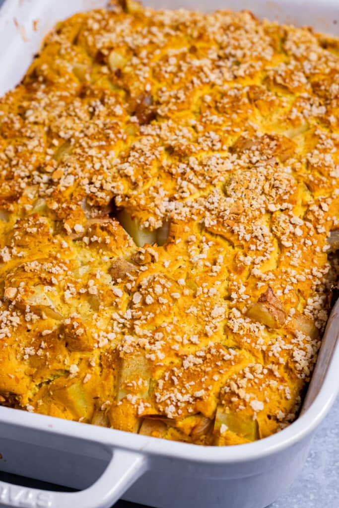 Vegan Cauliflower Gratin in a baking tray