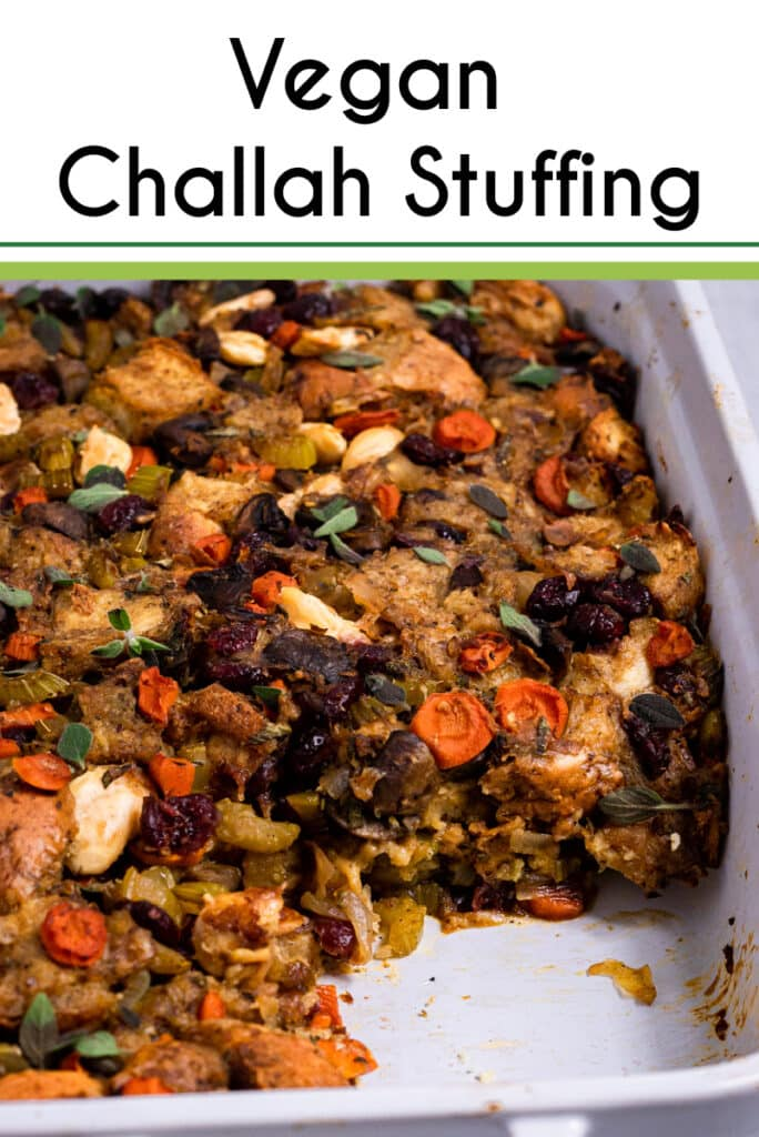 Pinterest image for the vegan challah stuffing
