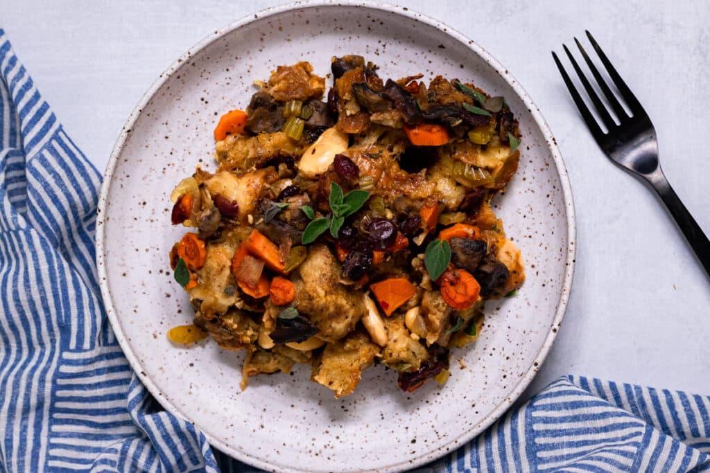 Vegan Challah Stuffing on a plate