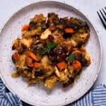 Vegan Challah Stuffing on a plate