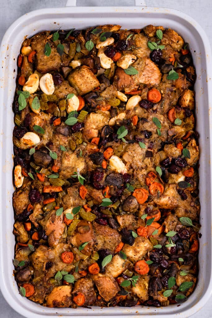Vegan Challah Stuffing in a White Baking Tray
