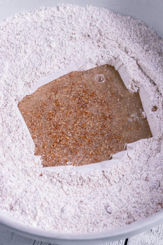Flax egg in a flour well