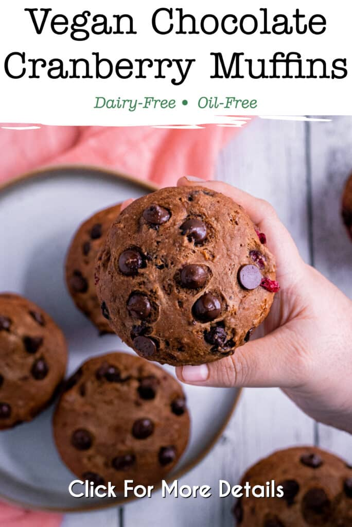Pinterest image for vegan chocolate cranberry muffins
