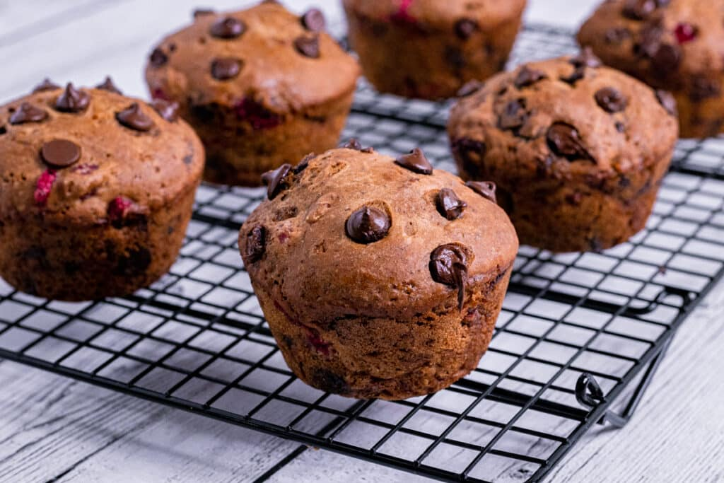 Vegan Chocolate Cranberry Muffins on a cooling rack