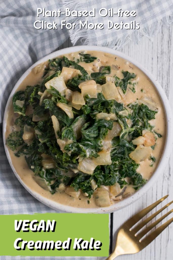 Pinterest Image for the vegan creamed kale