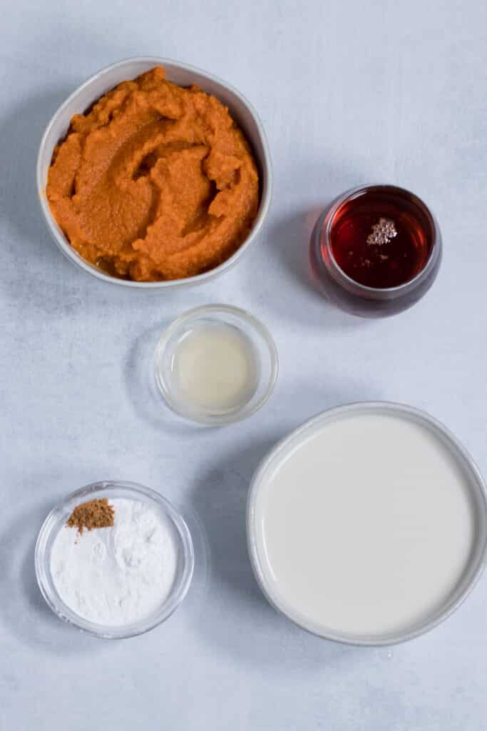 Pumpkin Puree and other ingredients in bowls