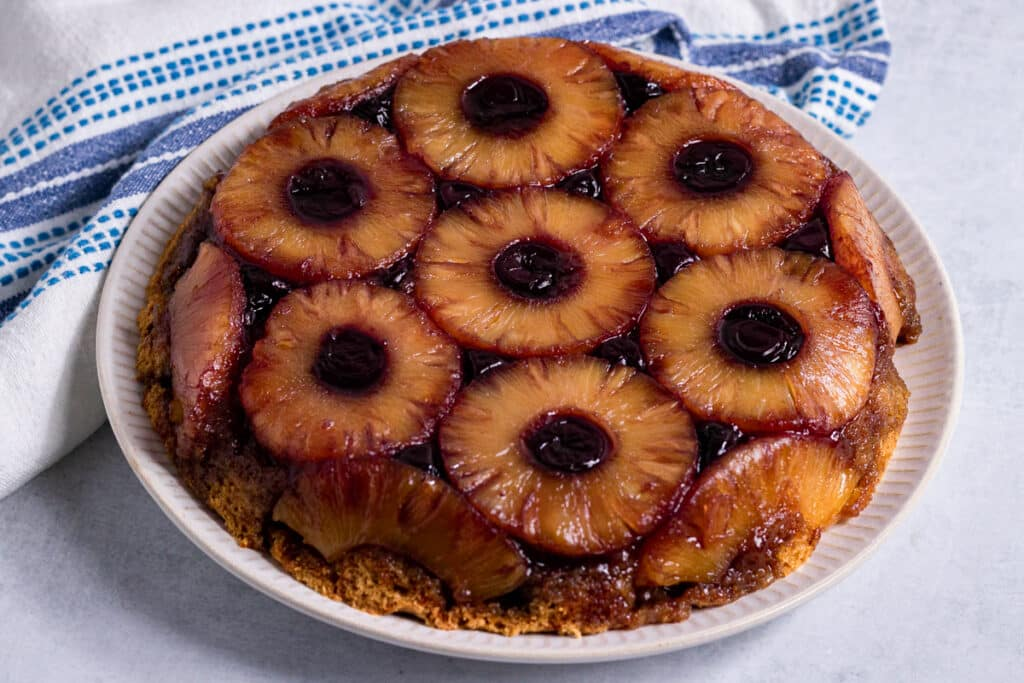 Vegan Pineapple Upside Down Cake on a plate
