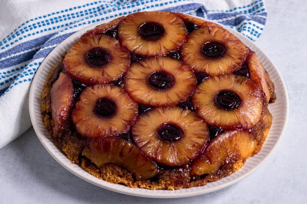 Vegan Pineapple Upside Down Cake on a plate