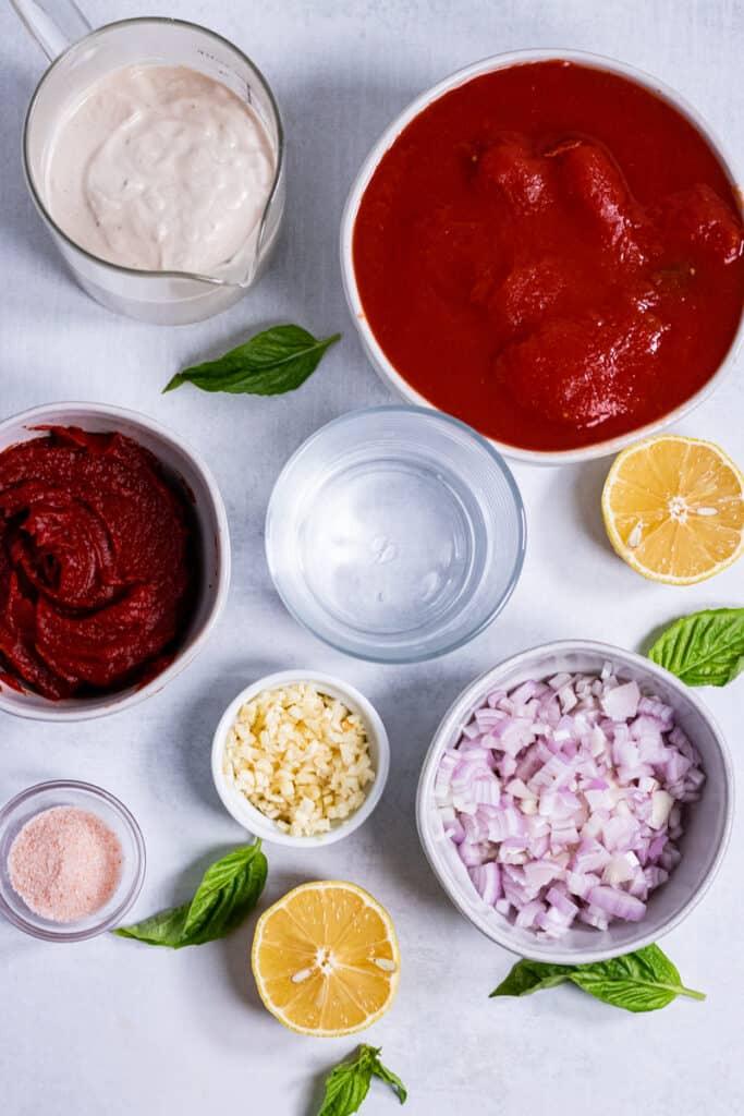 Ingredients for penne vodka sauce