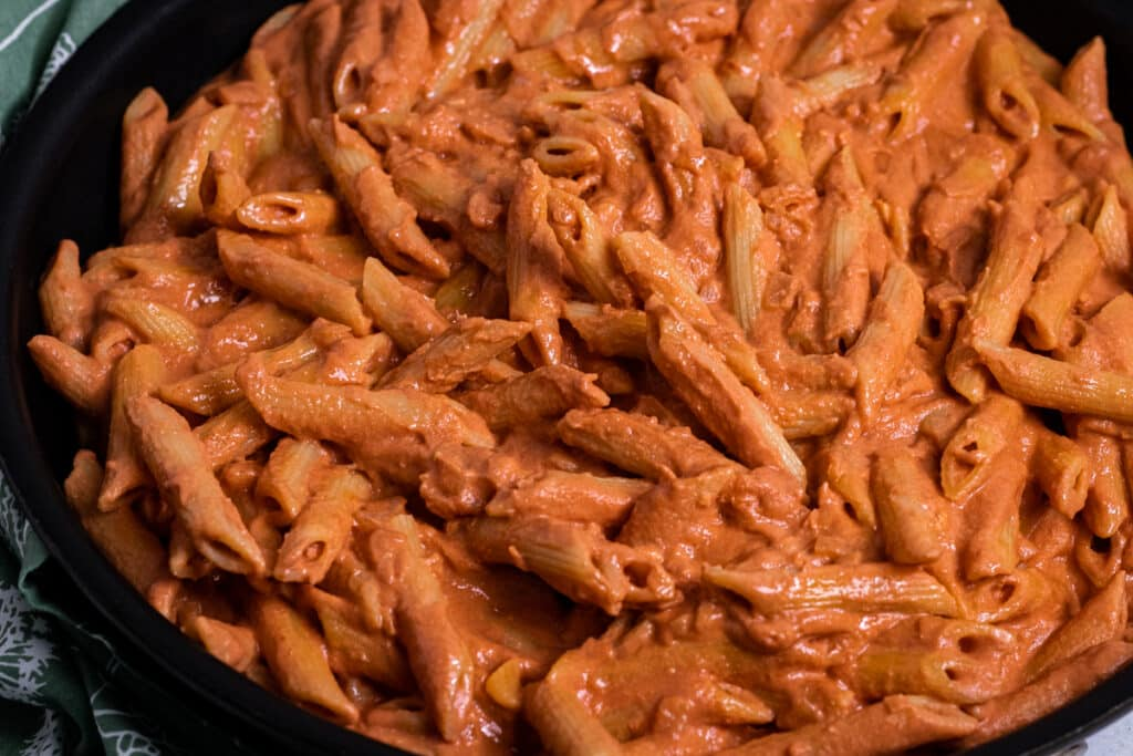 Penne alla vodka in a saucepan