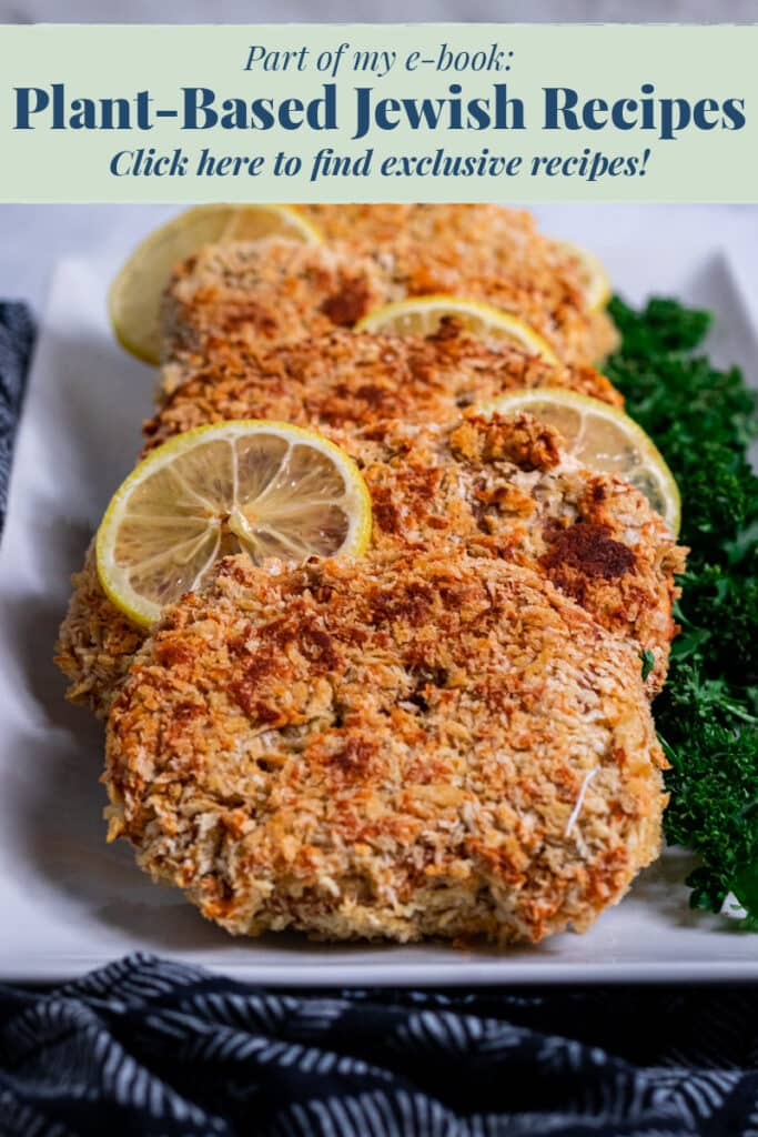 Plate of Vegan Schnitzels with link to jewish ebook