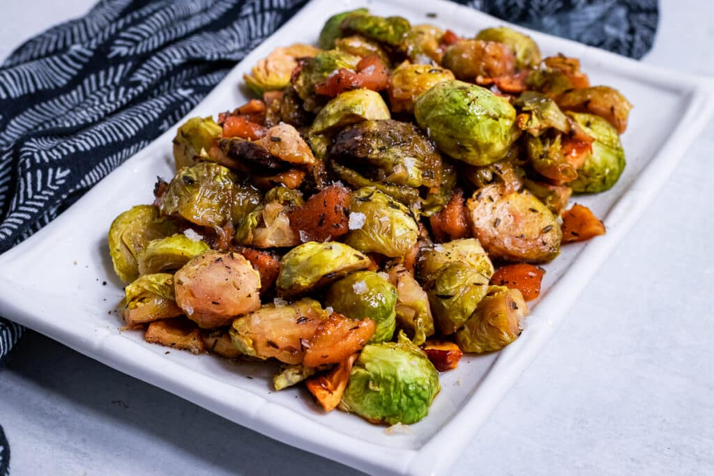 Plate of vegan apple Brussel sprouts