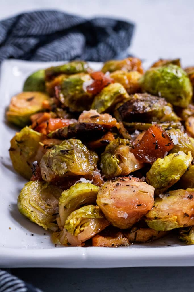 Plate of apple Brussel sprouts