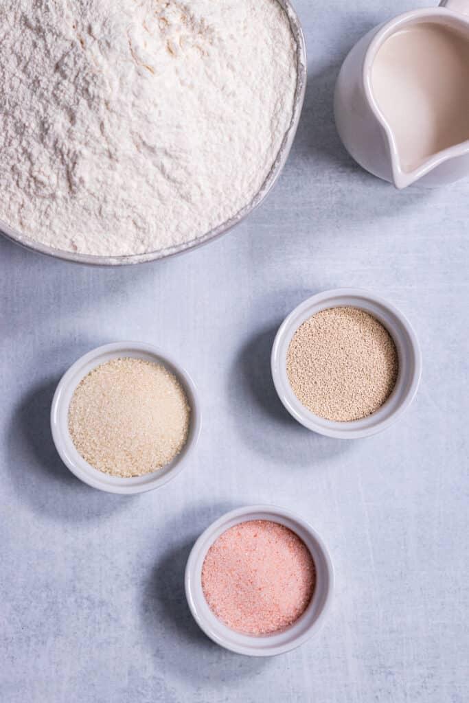 Bagel ingredients in bowls