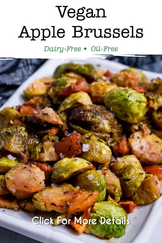 Pinterest image for the vegan apple brussel sprouts