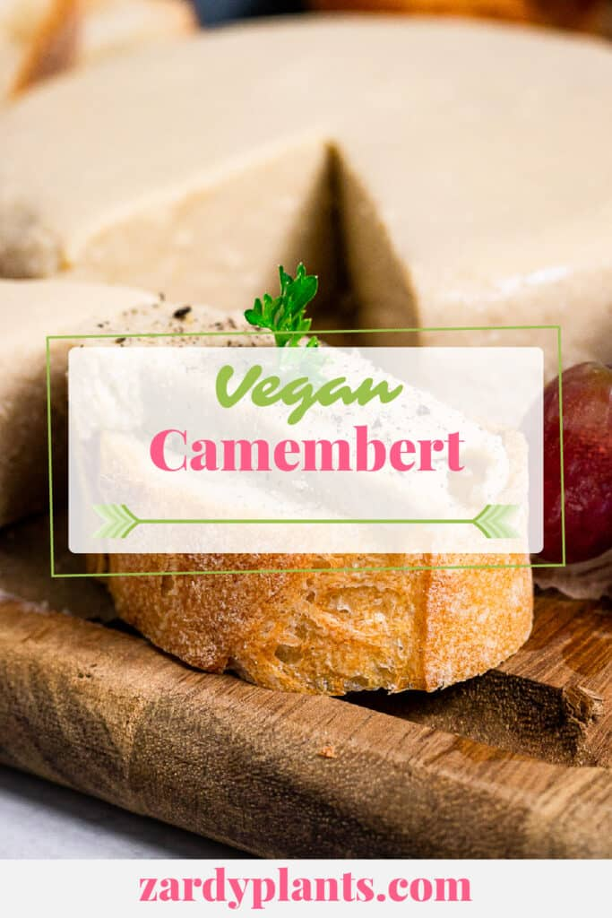 Pinterest image for the vegan Camembert