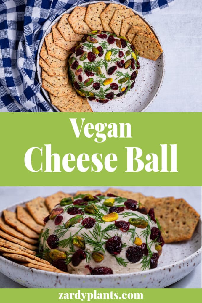 Pinterest image for the vegan cheese ball