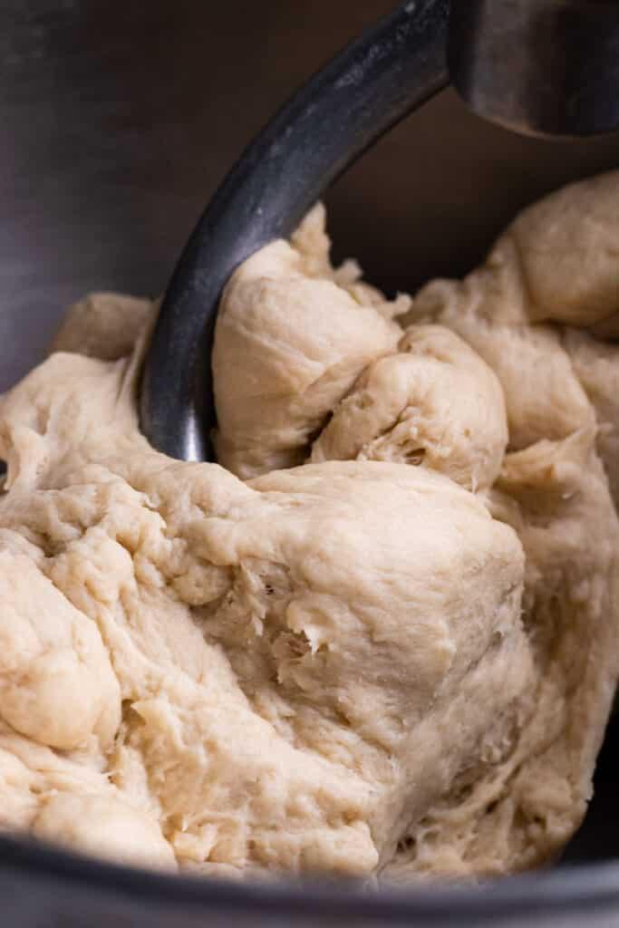 Dough being mixed by dough hook